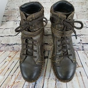 Born Brown Leather Moto Ankle Boots EUC 8.5